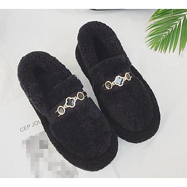 בגדי ריקוד נשים נעליים פרווה סתיו / חורף נוחות נעליים ללא שרוכים עקב נמוך שחור / חאקי
