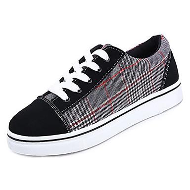 בגדי ריקוד נשים נעליים גומי אביב / סתיו נוחות נעלי ספורט שטוח בוהן עגולה שחור לבן / שחור אדום