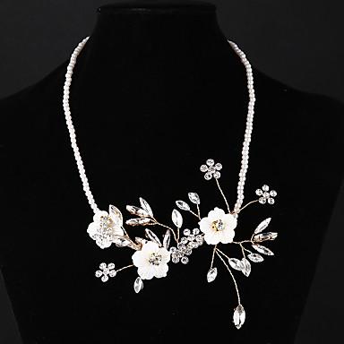 billige Halskjeder-Dame Choker Halskjede Blomst / Botanikk Blomst Europeisk Mote Perle Legering Gull Halskjeder Smykker Til Bryllup Daglig