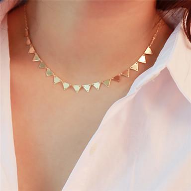 abordables Collier-Collier Choker / Ras de Cou Femme dames Basique Dorée Argent Colliers Tendance Bijoux pour Quotidien Sortie Triangle