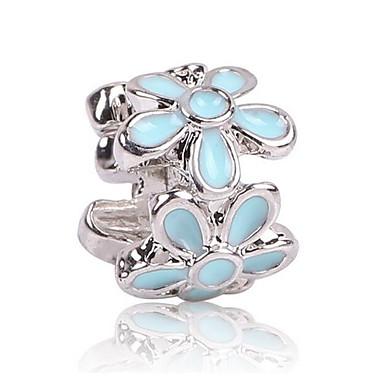 Gioielli Fai-da-te 1 Pezzi Perline Zirconi Lega Nero Azzurro Chiaro Fiore Decorativo Perlina 0.5 Cm Fai Da Te Collana Bracciali #06525698