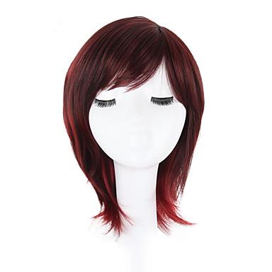 פאות סינתטיות גלי תספורת בוב / פיקסי קאט שיער סינטטי שיער טבעי / חלק צד / פאה אפרו-אמריקאית אדום פאה ללא מכסה
