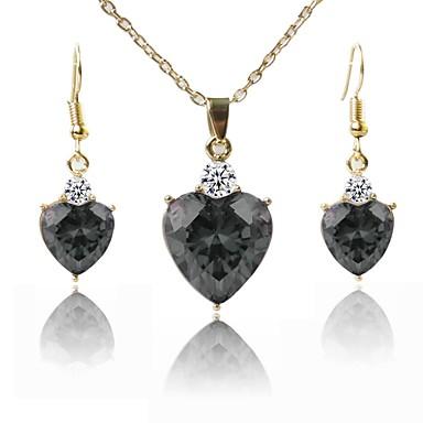 בגדי ריקוד נשים סט תכשיטים - ציפוי זהב אופנתי לִכלוֹל שרשראות תליון שחור עבור חתונה יומי