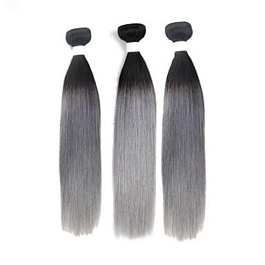baratos Extensões de Cabelo Natural-3 pacotes Cabelo Brasileiro Liso 10A Cabelo Natural Remy Âmbar Tramas de cabelo humano Extensões de cabelo humano / Reto