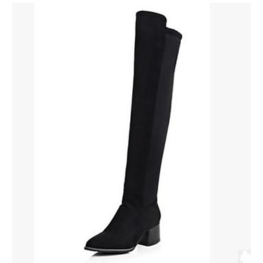 בגדי ריקוד נשים נעליים PU סתיו / חורף נוחות / מגפיים אופנתיים מגפיים עקב עבה מגפיים באורך מעל הברך שחור
