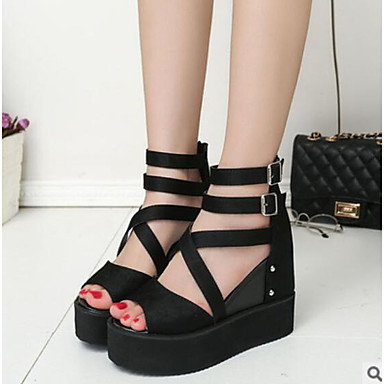 141b6055a3426 Women s PU(Polyurethane) Summer Comfort Sandals   Boots Wedge Heel Open Toe  Black