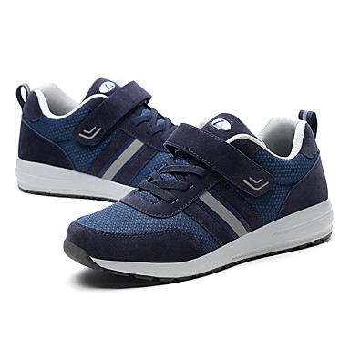 בגדי ריקוד גברים נעלי נוחות דמוי עור / טול / PU אביב נעלי אתלטיקה ריצה / טיפוס / כושר וחיטוב קולור בלוק אפור / כחול
