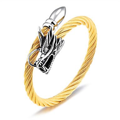 baratos Bangle-Homens Pulseiras Algema Dragão Fashion Aço Titânio Pulseira de jóias Dourado / Preto / Prata Para Diário Formal