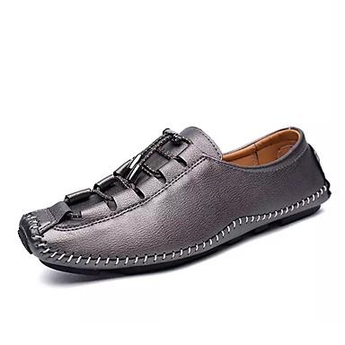 בגדי ריקוד גברים עור נאפה Leather / עור אביב / סתיו נוחות נעליים ללא שרוכים כסף / חום / אדום