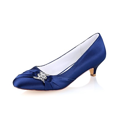 805ce988857 Women s Shoes Stretch Satin Spring   Fall Basic Pump Wedding Shoes Kitten  Heel Round Toe Crystal Dark Blue   Party   Evening