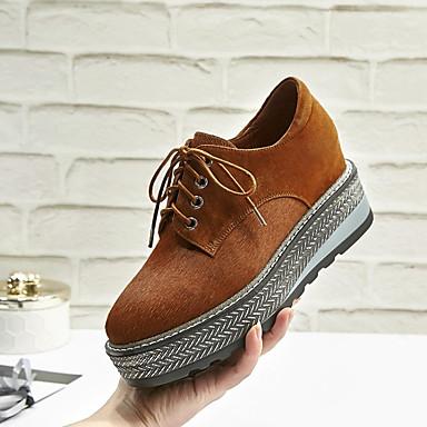 בגדי ריקוד נשים נעליים עור נאפה Leather / PU אביב / סתיו נוחות נעלי אוקספורד עקב טריז בוהן סגורה שחור / חום בהיר