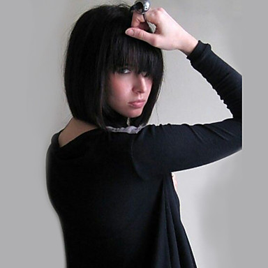 Human Hair Capless Wigs Human Hair Straight Bob Haircut Natural Hairline Medium Length Machine Made Wig Women's
