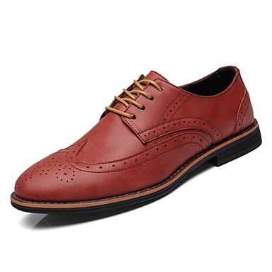 נעליים מיקרופייבר PU סינתטי PU דמוי עור אביב סתיו נוחות נעלי אוקספורד ל קזו'אל אפור חום Wine
