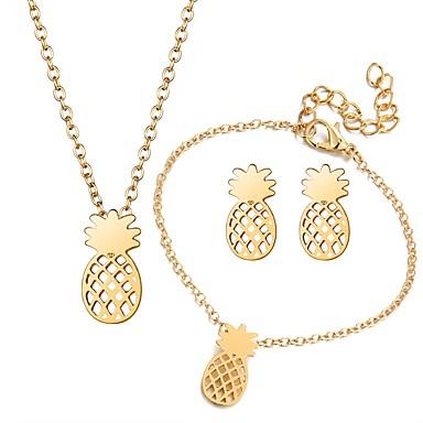 בגדי ריקוד נשים סט תכשיטים - פרי לִכלוֹל זהב / כסף עבור מתנה רחוב / עגילים