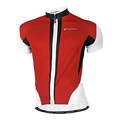 Nuckily Homens Manga Curta Camisa para Ciclismo - Vermelho Azul Geométrico Moto Camisa/Roupas Para Esporte, Secagem Rápida, Design