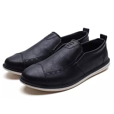 בגדי ריקוד גברים אור סוליות PU אביב / סתיו נעליים ללא שרוכים שחור / אפור