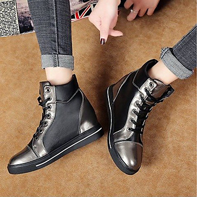 Botas Negro 06477533 Tacón Mitad Dedo Plano Combate redondo de Dorado Mujer de Botas Zapatos PU Primavera Plata Gemelo wnqxTSZ