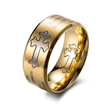 voordelige Herensieraden-Heren Bandring Goud Zwart Titanium Staal Titanium Staal Cirkelvorm Modieus Werk Toimisto & ura Sieraden