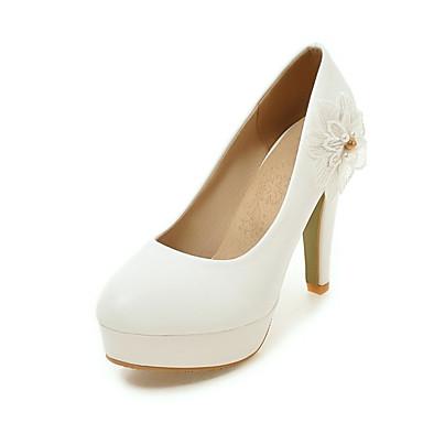 בגדי ריקוד נשים נעליים דמוי עור אביב / סתיו נוחות עקבים עקב עבה אפליקציות לבן / צהוב / ורוד / מסיבה וערב / שמלה / מסיבה וערב