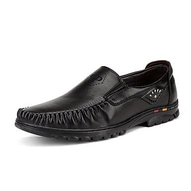 אור סוליות עור / PU אביב / קיץ נוחות נעליים ללא שרוכים שחור / צהוב / חום כהה