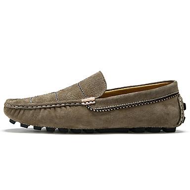 בגדי ריקוד גברים עור אביב / קיץ נוחות נעליים ללא שרוכים כחול כהה / אדום / חאקי