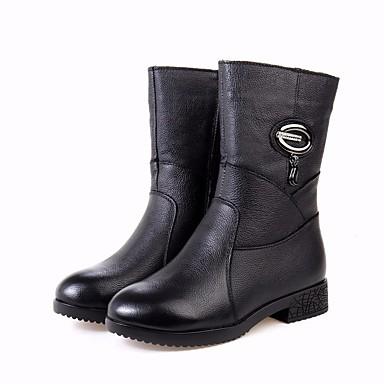 בגדי ריקוד נשים נעליים עור נאפה Leather / עור סתיו / חורף נוחות / מגפיים מגפיים עקב עבה שחור