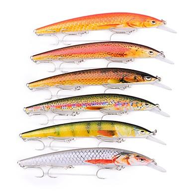 6 pcs פתיונות דיג פיתיון קשיח / Minnow פלסטי חוץ דיג בים / דיג בפתיון / חכות וסירת דיג