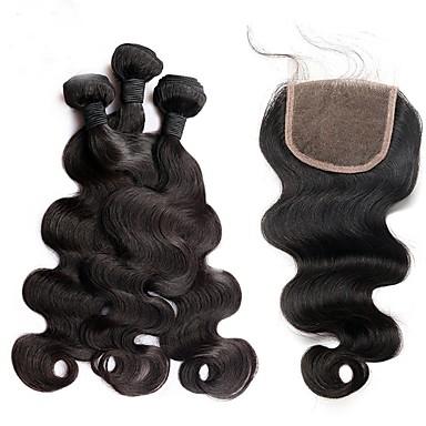 baratos Extensões de Cabelo Natural-3 pacotes com fechamento Cabelo Brasileiro Onda de Corpo 8A Cabelo Humano Trama do cabelo com Encerramento Tramas de cabelo humano Extensões de cabelo humano