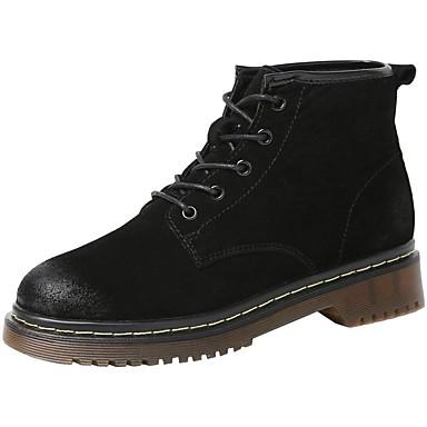 בגדי ריקוד נשים נעליים עור נאפה Leather סתיו / חורף קאובוי / מגפיים מערביים / מגפיי קרב מגפיים שטוח מגפונים\מגף קרסול / מגפיים באורך אמצע - חצי שוק שחור / אפור / חום / מסיבה וערב