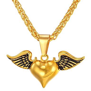 בגדי ריקוד נשים שרשראות תליון - פלדת על חלד לב וינטאג' זהב, כסף שרשראות 1 עבור מתנה, יומי