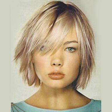 שיער ללא שיער שיער אנושי ישר תספורת שכבות שיער אומבר / שורשים כהים בינוני הוכן באמצעות מכונה פאה