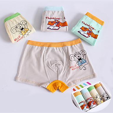 baratos Cuecas & Meias para Meninos-4 Bébé Para Meninos Simples Desenho Animado Algodão Roupa Íntima & Meias Azul Claro