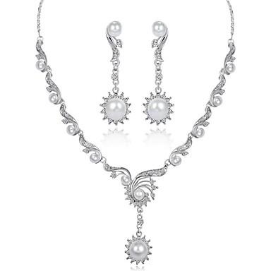 בגדי ריקוד נשים סט תכשיטים - ציפוי זהב אופנתי לִכלוֹל לבן עבור ארוסים מתנה / עגילים