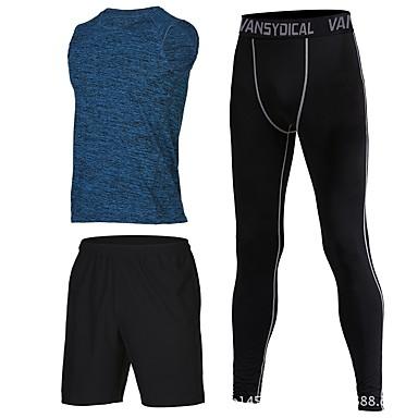 בגדי ריקוד גברים טישרט ומכנסיים לריצה - כחול, ורוד, אפור ספורט מכנסיים קצרים / חותלות ללא שרוולים לבוש אקטיבי ייבוש מהיר