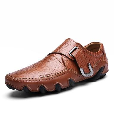 בגדי ריקוד גברים נעליים פורמליות עור אביב / סתיו נוחות נעליים ללא שרוכים שחור / חום כהה / מסיבה וערב