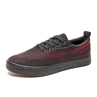 בגדי ריקוד גברים נעליים גומי אביב / סתיו נוחות נעלי אתלטיקה לבן / שחור / אדום