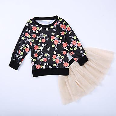 סט של בגדים כותנה חוטי זהורית כל העונות שרוול ארוך יומי ליציאה אחיד פרחוני בנות חמוד פעיל שחור