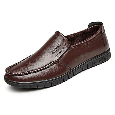 בגדי ריקוד גברים עור סתיו / חורף נוחות נעליים ללא שרוכים שחור / חום