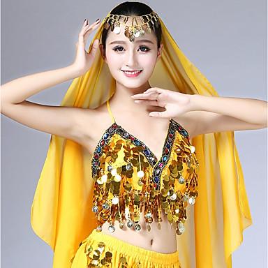 ריקוד בטן חולצות בגדי ריקוד נשים הצגה שיפון Paillette ללא שרוולים גבוה עליון