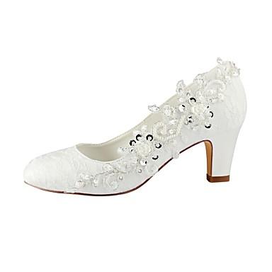 06487296 mariage Dentelle rond Automne Perle Femme Bottier Elastique Bout Basique Escarpin Chaussures Satin Printemps de Chaussures Talon aq6F6xvw5