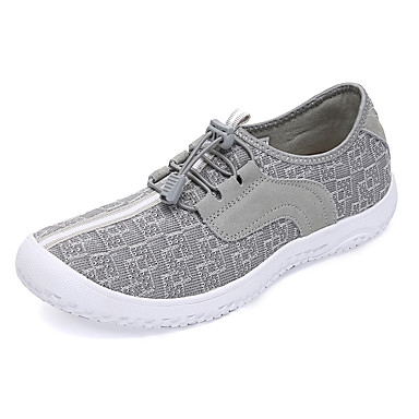 בגדי ריקוד נשים נעליים PU אביב / סתיו נוחות נעלי אתלטיקה הליכה שטוח שחור / אפור