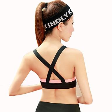 חזיות ספורט מרופד תמיכה בינונית עבור יוגה / ריצה - שחור / אפור / שחור / כתום נשימה, תומך זיעה בגדי ריקוד נשים פוליאסטר