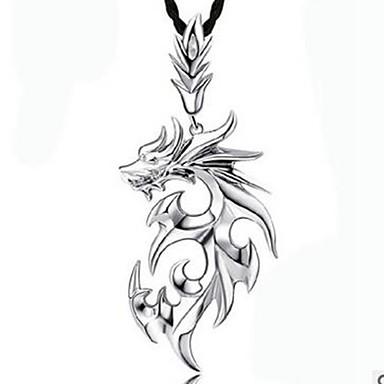 billige Mote Halskjede-Herre Anheng Halskjede Drage Koreansk Hip-hop Satanic Lær Legering Hvit Sølv Halskjeder Smykker 1 Til Daglig