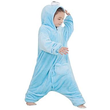 בגדי ריקוד ילדים פיג'מות קיגורומי אנימה פיג'מה אוברול תחפושות פלנל פליז כחול Cosplay ל הלבשת בעלי חיים קָרִיקָטוּרָה ליל כל הקדושים פסטיבל / חג / חג המולד