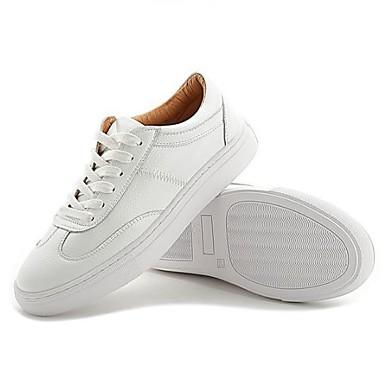 בגדי ריקוד נשים נעליים עור אביב / סתיו נוחות נעלי ספורט שטוח בוהן עגולה לבן