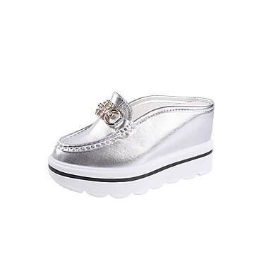 Mulheres Sapatos Couro Ecológico Verão Conforto Sandálias Salto Plataforma para Ao ar livre Dourado Branco Prata