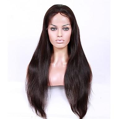שיער בתולי חלק קדמי תחרה ללא דבק / חזית תחרה פאה שיער ברזיאלי ישר פאה עם שיער תינוקות 130% / 150% / 180% פאה אפרו-אמריקאית בגדי ריקוד נשים קצר / ארוך / חצי אורך פיאות תחרה משיער אנושי