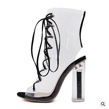 בגדי ריקוד נשים נעליים PU קיץ נוחות סנדלים עקב עבה בוהן סגורה שחור