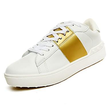 נעליים מיקרופייבר PU סינתטי אביב סתיו נוחות נעלי ספורט ל קזו'אל זהב כסף שחור לבן לבן וירוק בורדו