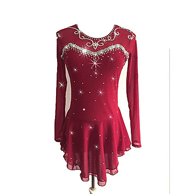 cd684c4152 Vestidos para Patinação Artística Mulheres Para Meninas Patinação no Gelo  Vestidos Vinho Elastano Com Stretch Competição